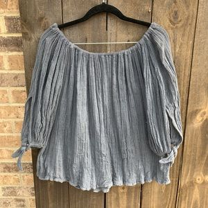 Jen's Pirate Booty Flowy Gauze Tie-Sleeve Top XS